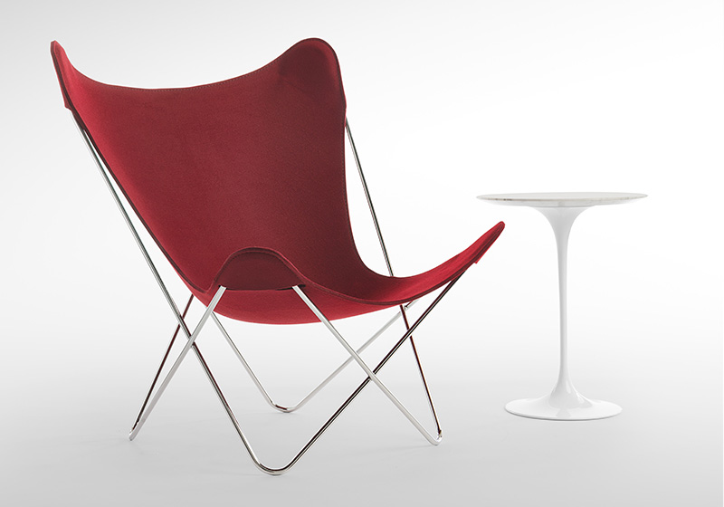 Knoll Butterfly Chair Anniversary Edition in Burgundy Felt