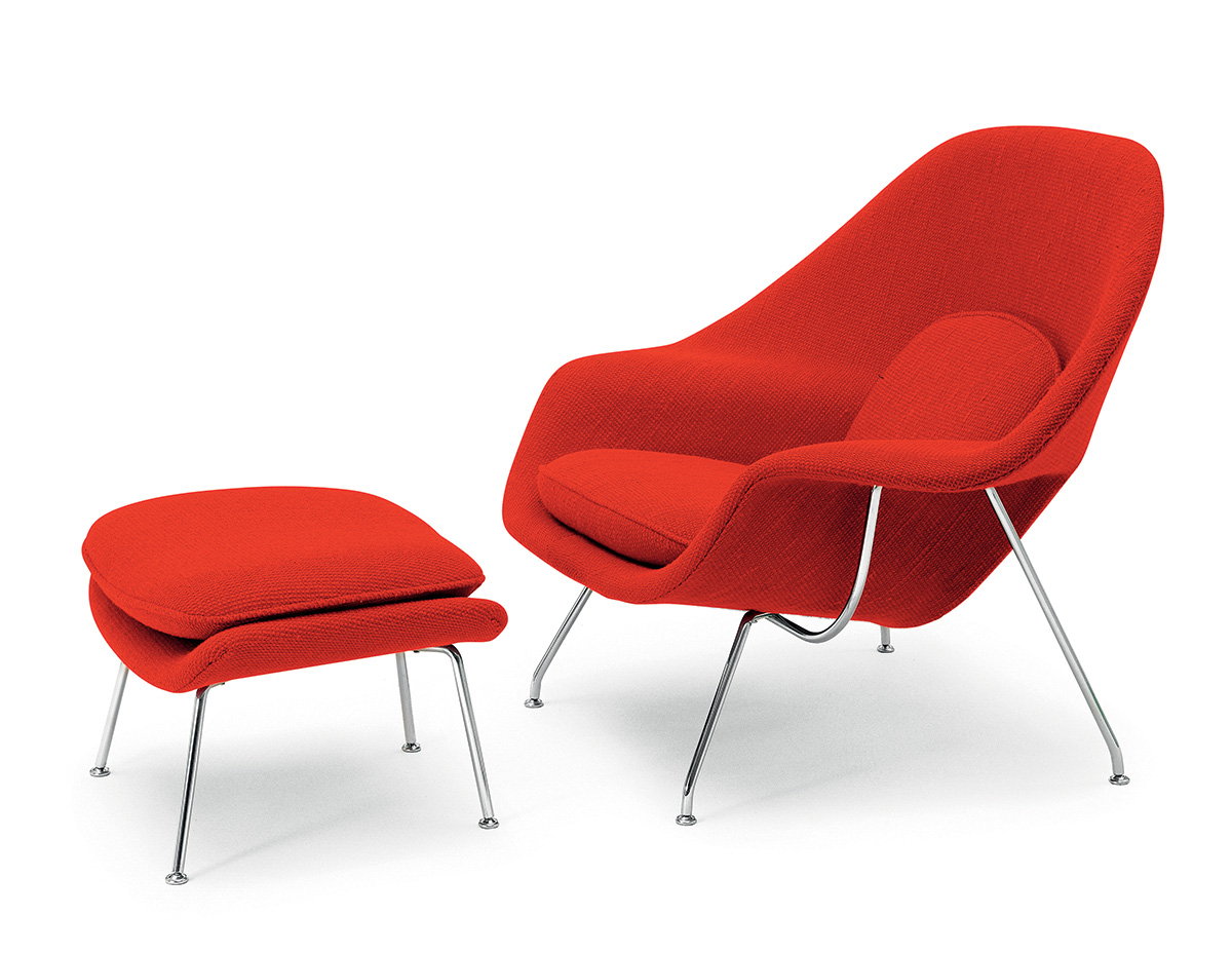 Knoll Womb Chair and Ottoman in Fire Red
