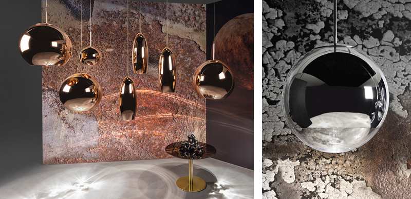 Tom Dixon Copper Pendant Light Collection and Mirror Ball Pendant Light