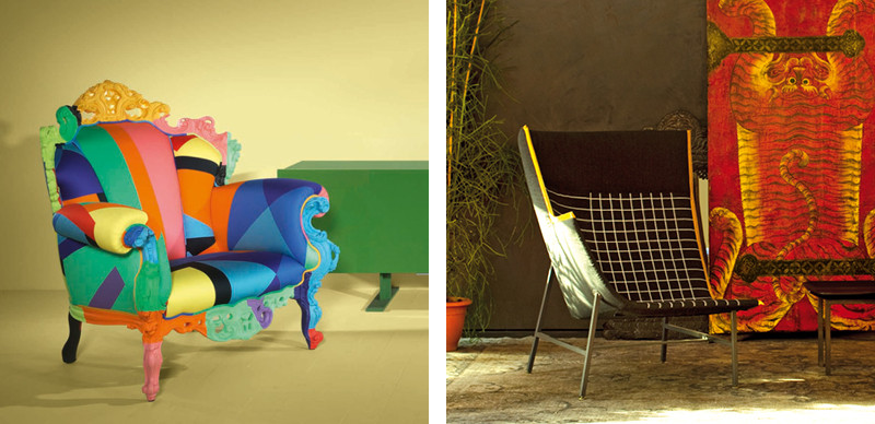 Cappellini Proust Geometrica Armchair and Moroso Paper Planes High Armchair