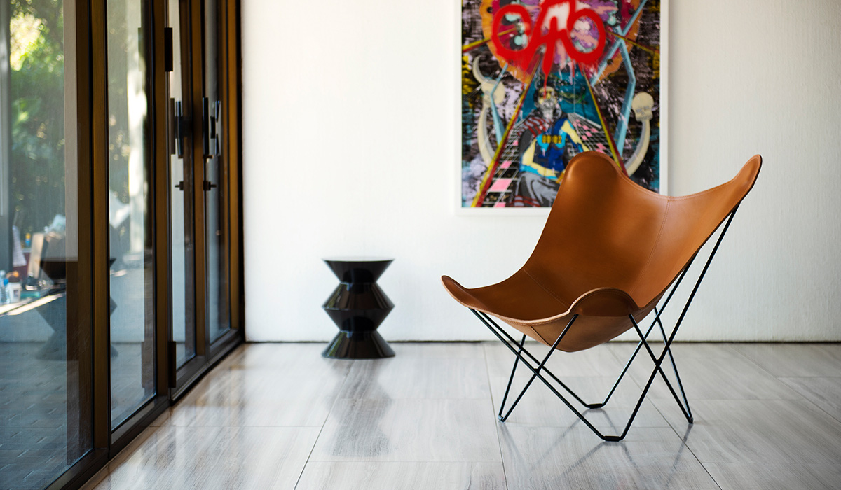 The Cuero Design Leather Butterfly Chair in Montana