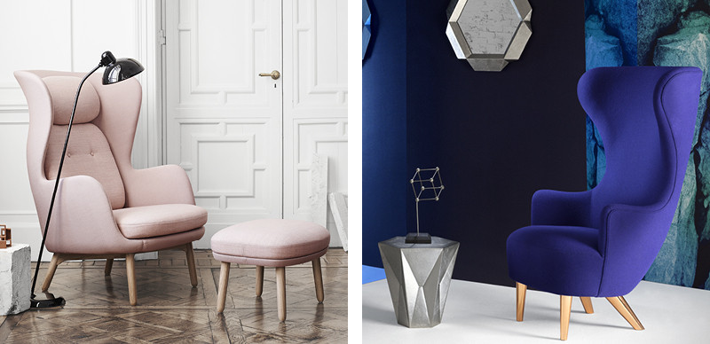 Fritz Hansen Ro Easy Chair Wooden Base and Tom Dixon Wingback Chair with Copper Legs