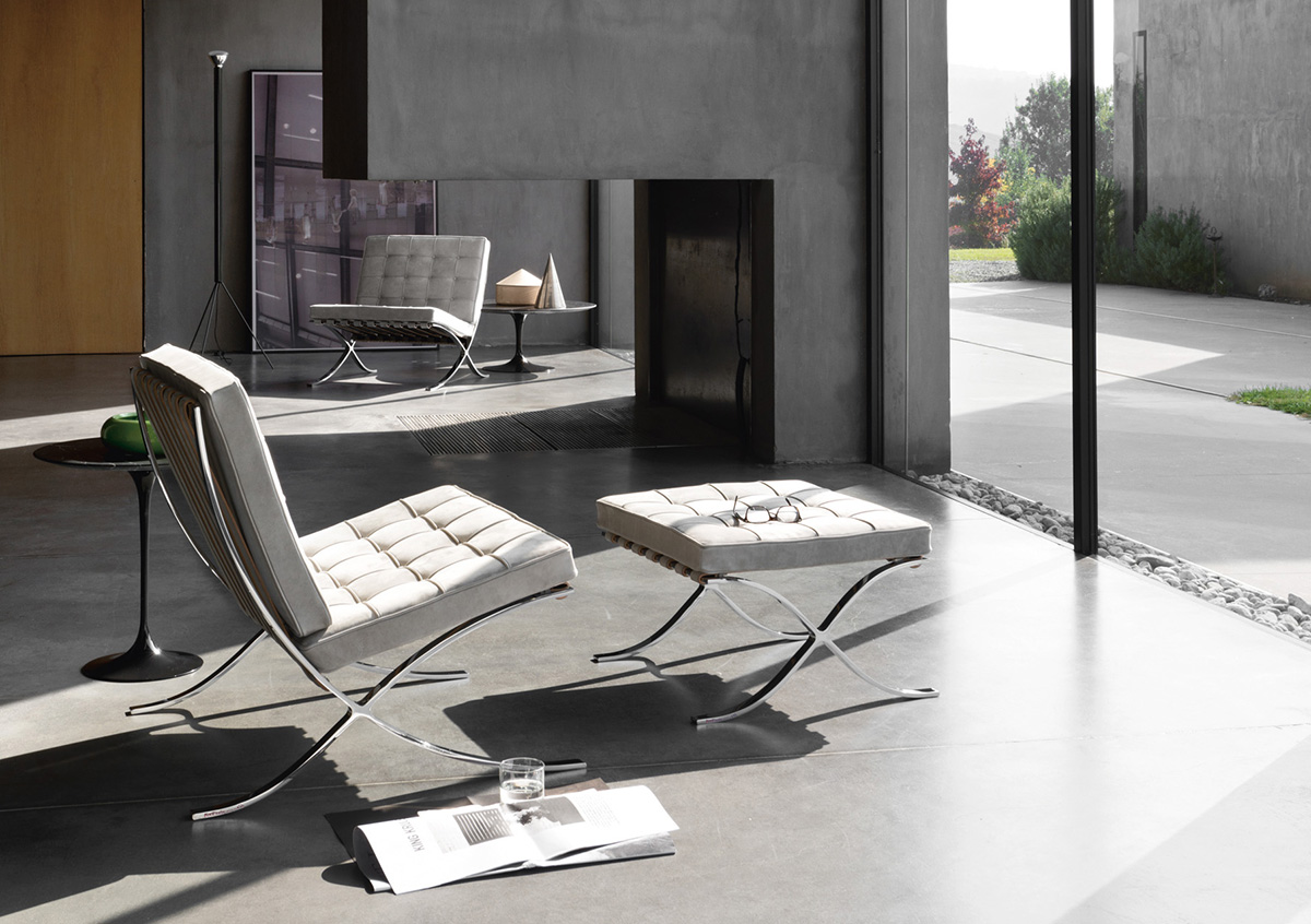 Knoll Barcelona Chair in white leather