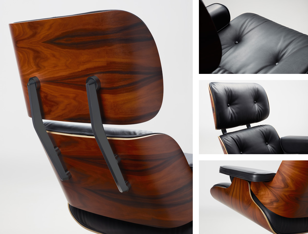 Details of the Vitra Eames Lounge Chair in Santos Palisander