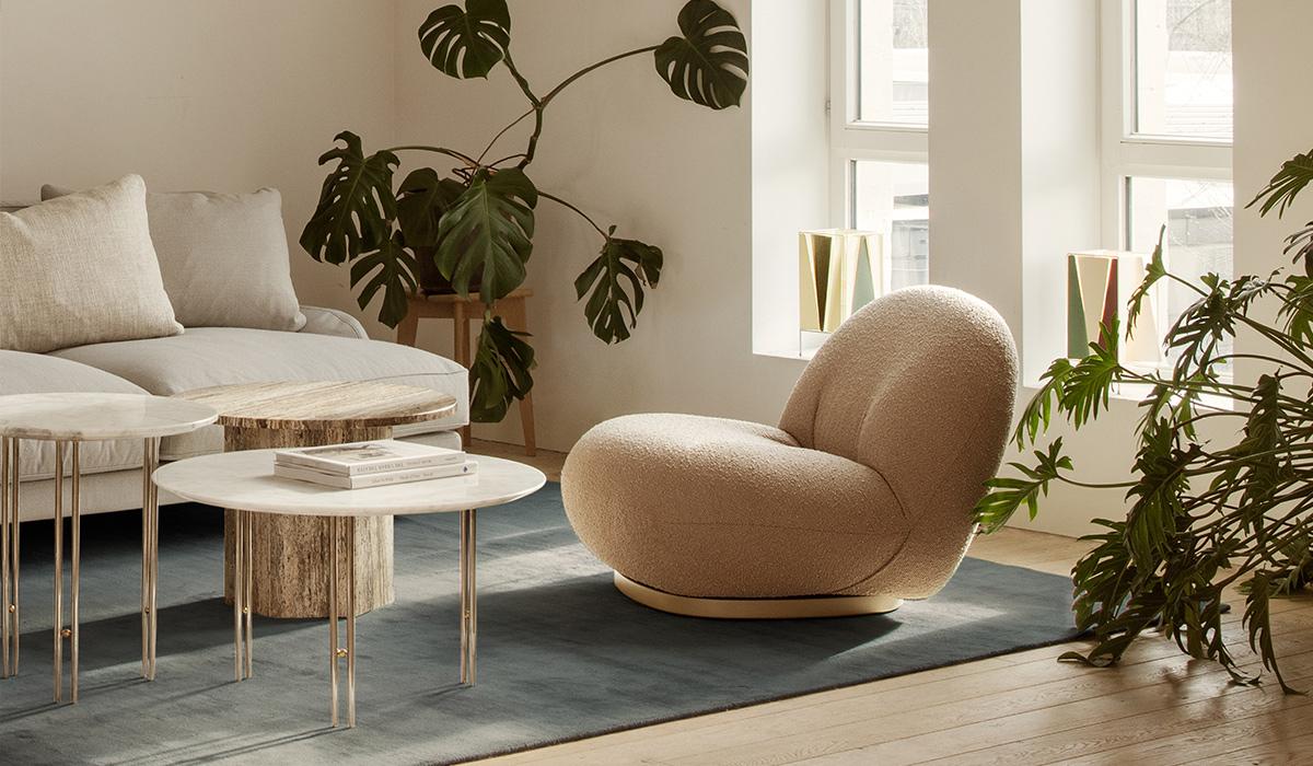 The Gubi Pacha Lounge Chair in Vidar Fabric 333