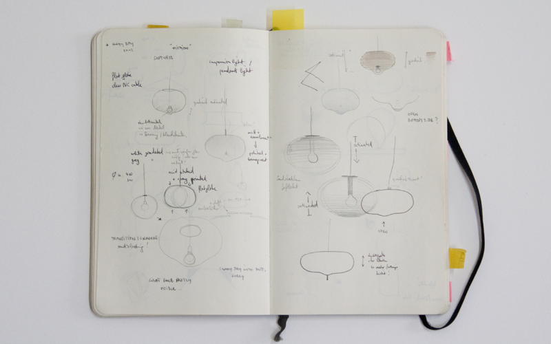 Original sketches of the Hazy Day Suspension Light