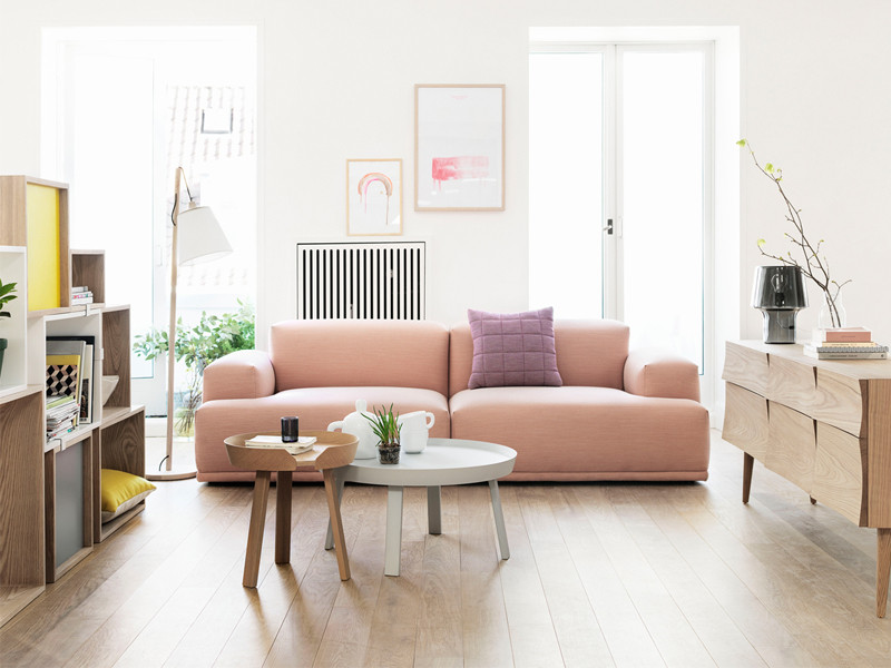 Muuto Connect Two Seater Sofa with Muuto Stacked Shelving System and Muuto Around Coffee Table