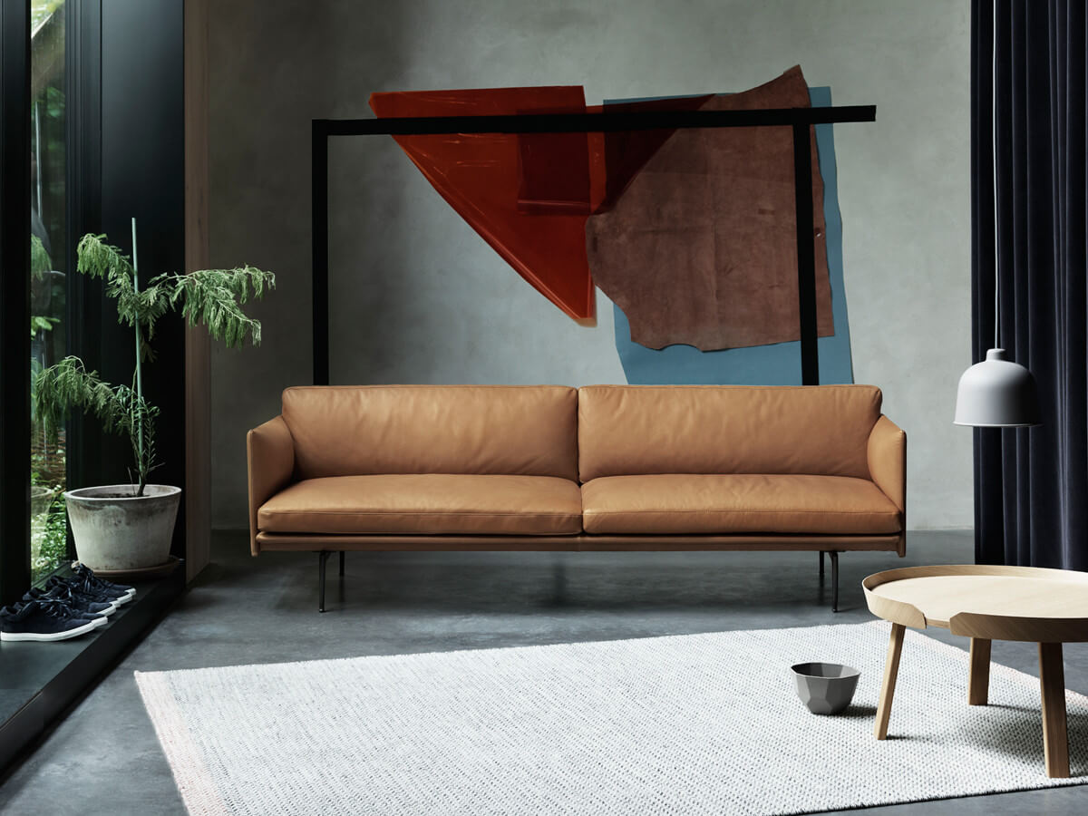 Muuto Outline Three Seater Sofa in Cognac Leather in living room