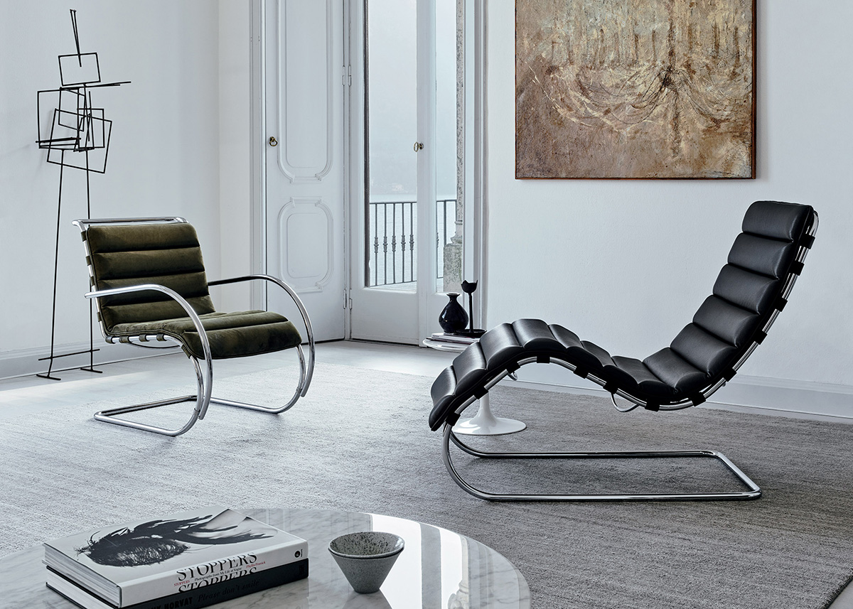 Knoll MR Chair and MR Chaise Longue in a home with classical features