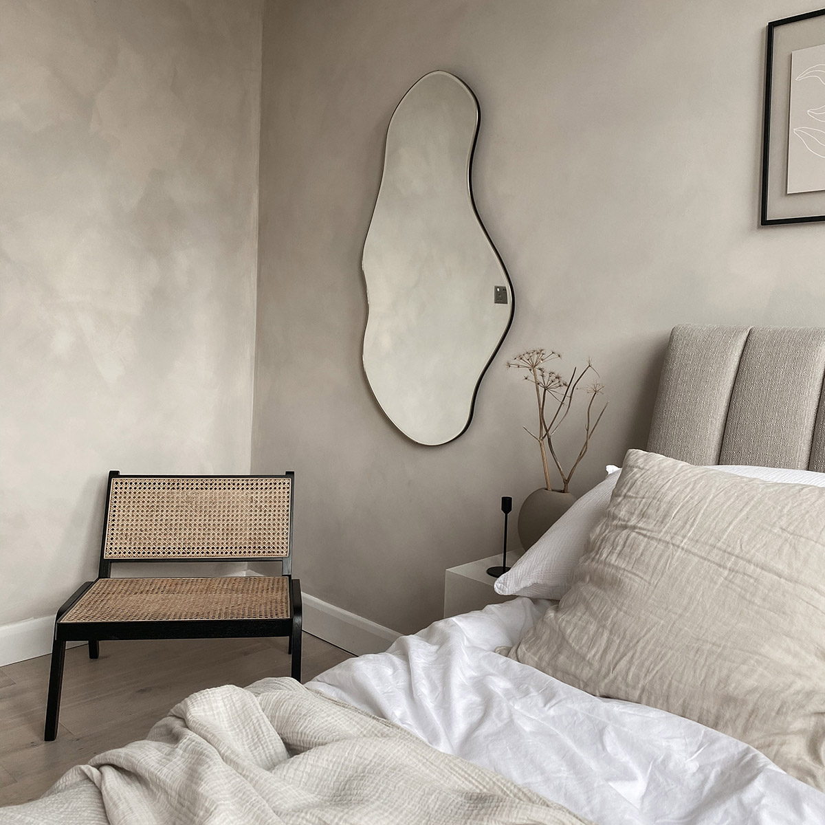 Ferm Living Pond Mirror in Lisa Mistry's neutral bedroom