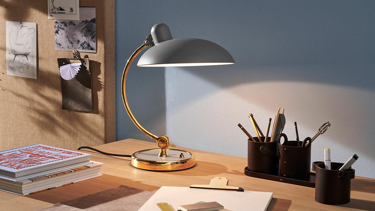 Fritz Hansen Kaiser Idell Luxus Table Lamp on a desk