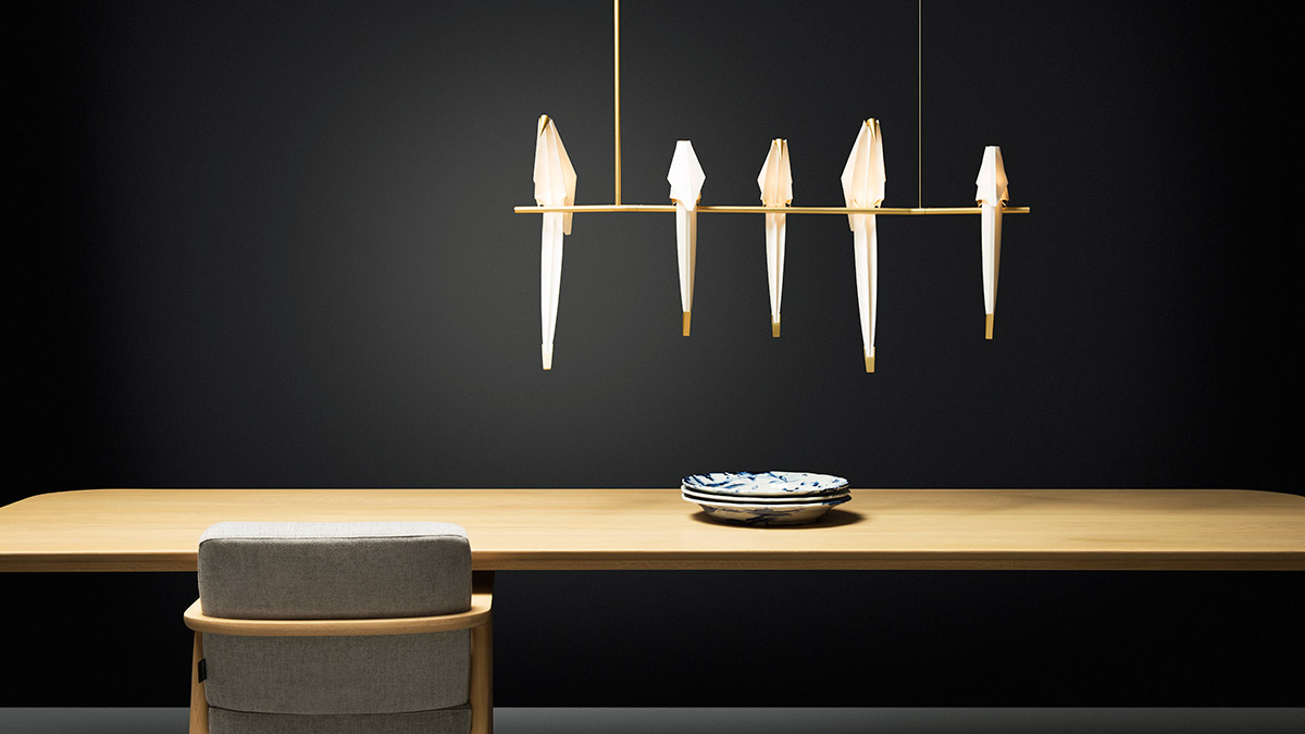 Moooi Perch Branch Suspension Light over a dining table