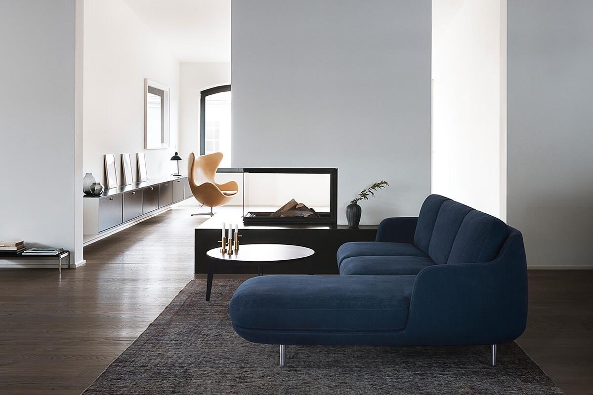 The Fritz Hansen Lune Sofa in a modern, Scandinavian home