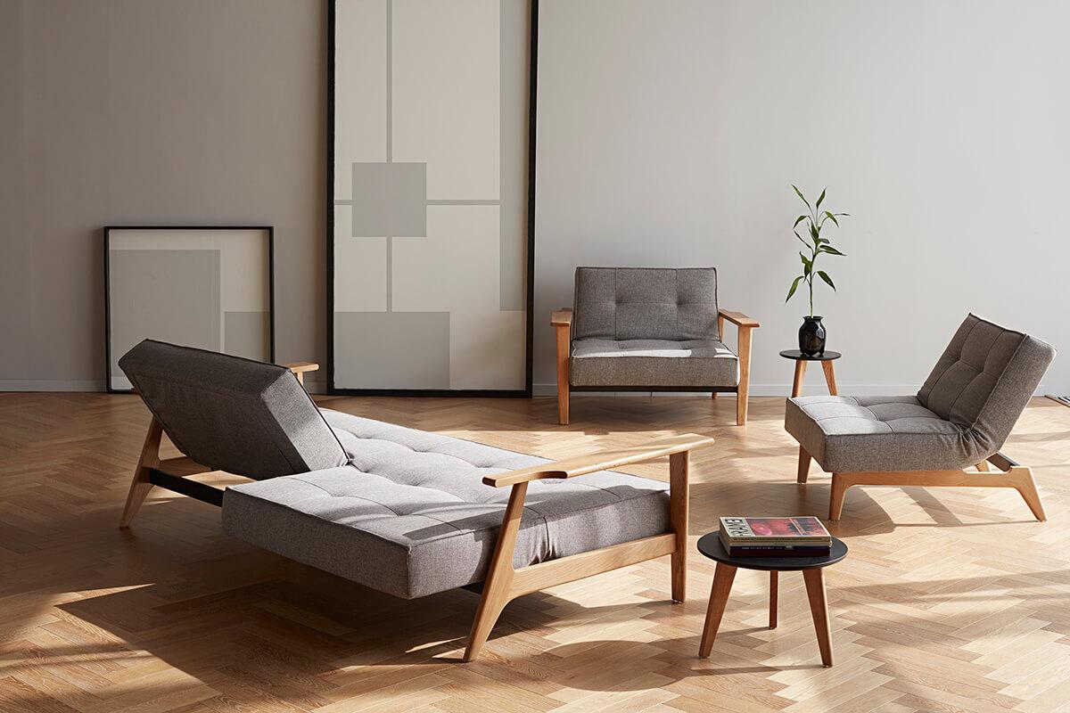 The Innovation Living Splitback Frej Sofa Bed can be configure din multiple ways