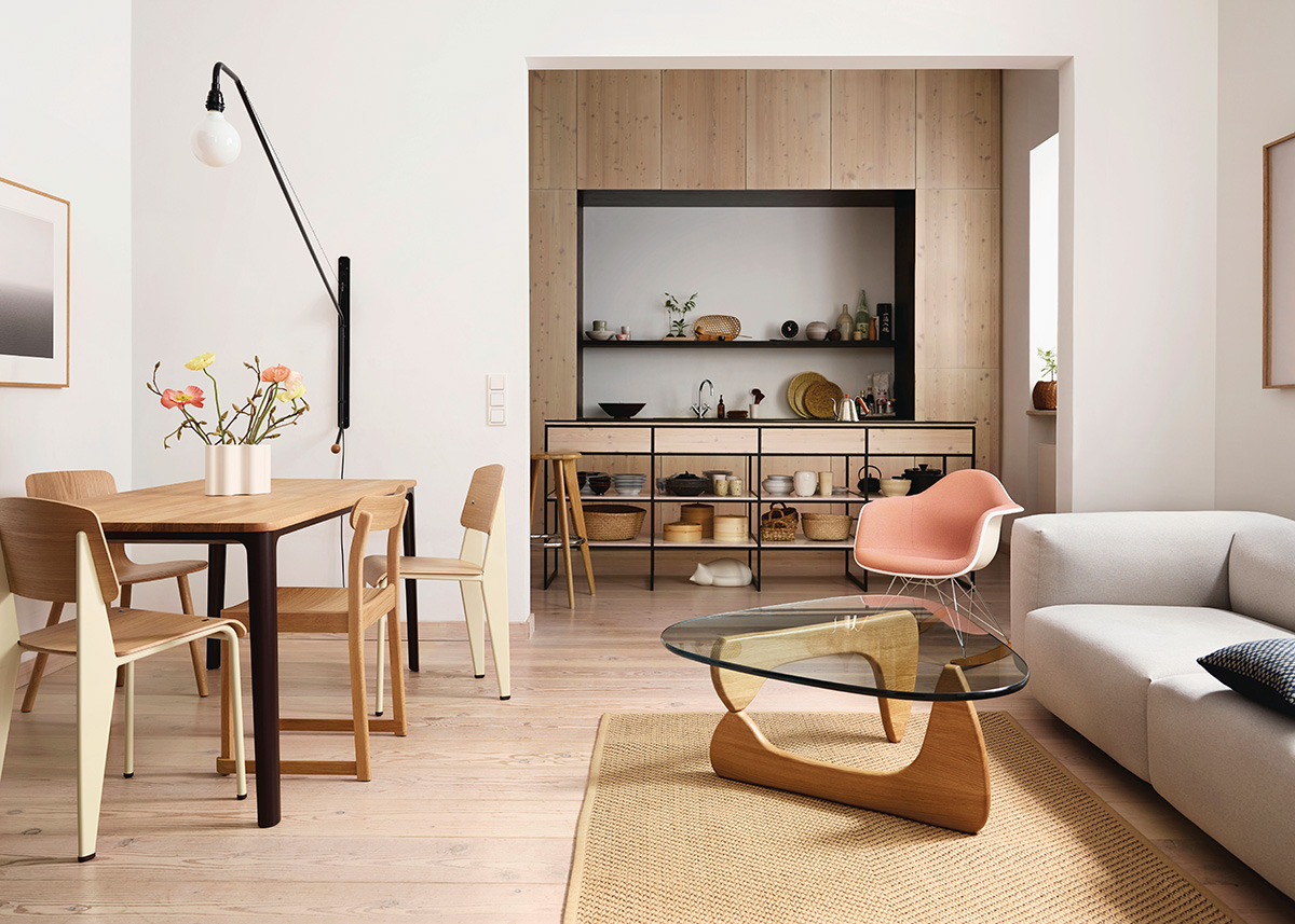 The Vitra Noguchi Table inside a neutral living/dining room