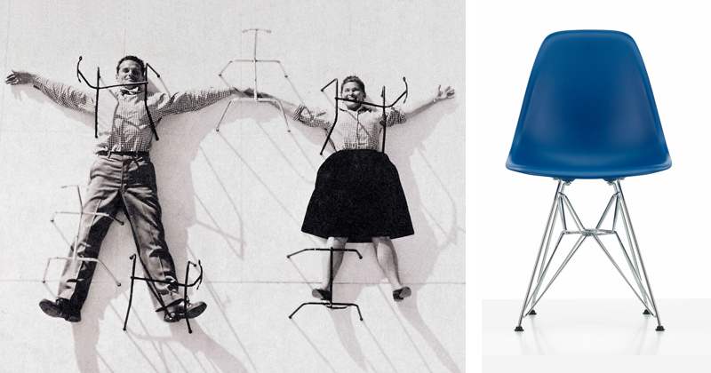 Charles and Ray Eames with New Vitra Eames DSR Navy Blue .jpg