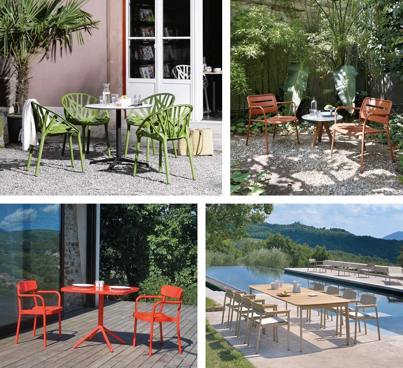 Vitra Vegetal Chair, Kettal Village Club Armchair, EMU Grace Armchair and Table, EMU Shine Armchair and Extendable table