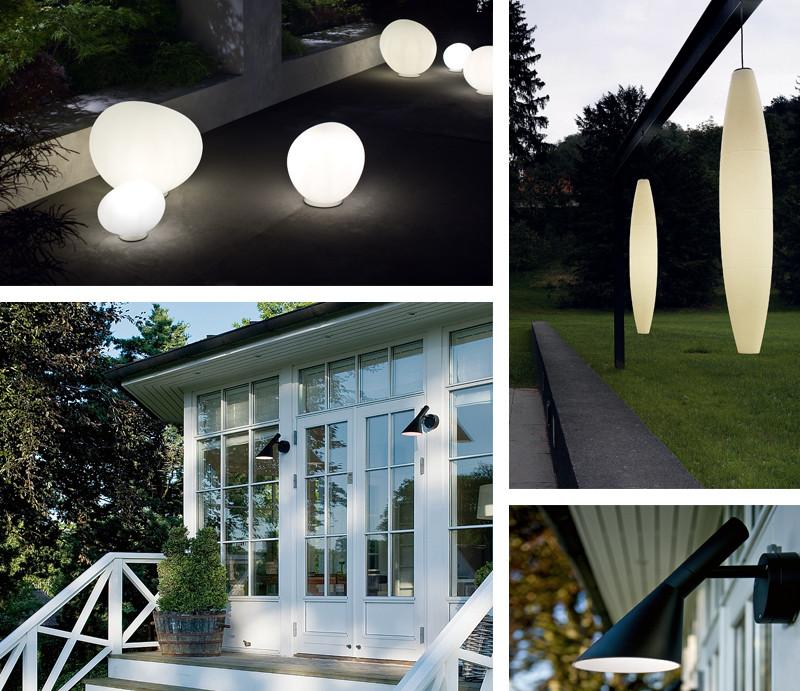 Foscarini Gregg Outdoor Lamp, Foscarini Havana Outdoor Suspension Light, Louis Poulsen AJ50 Outdoor Wall Light