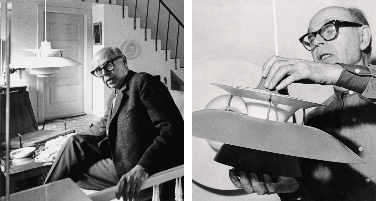 Portraits of Poul Henningsen with his most famous design, the PH 5