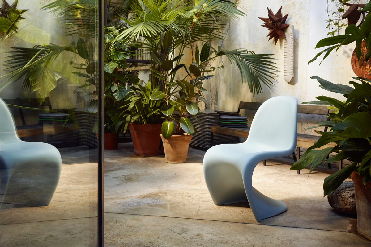 Ice Grey Vitra Panton Chair in modern outdoor space