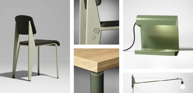 Vitra Prouve RAW Office Edition Standard SR Chair, Lampe de Bureau, Petite Potence Wall Light and Table Flavigny