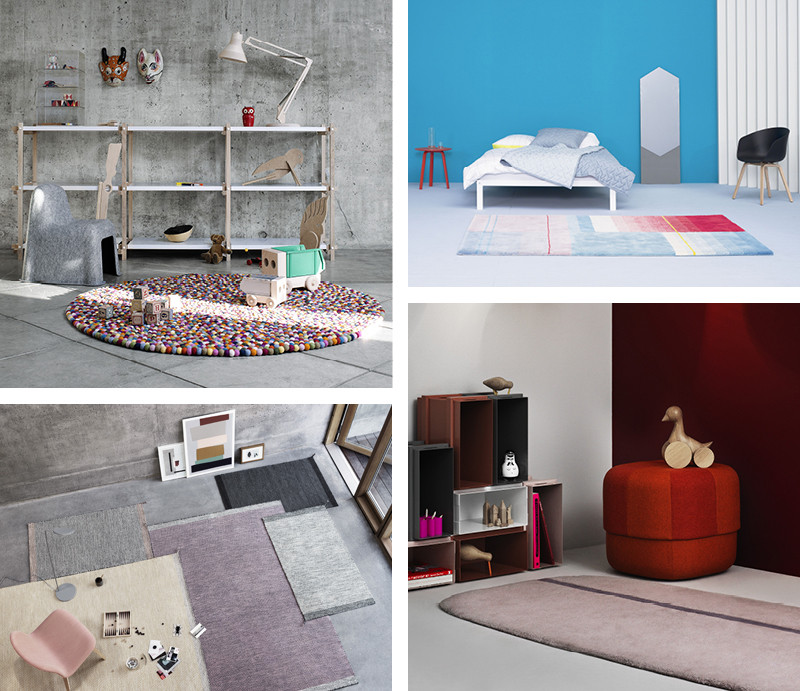 HAY Pinocchio Rug, HAY Colour Carpet,  Normann Copenhagen Oona Rug and Muuto Ply Rugs