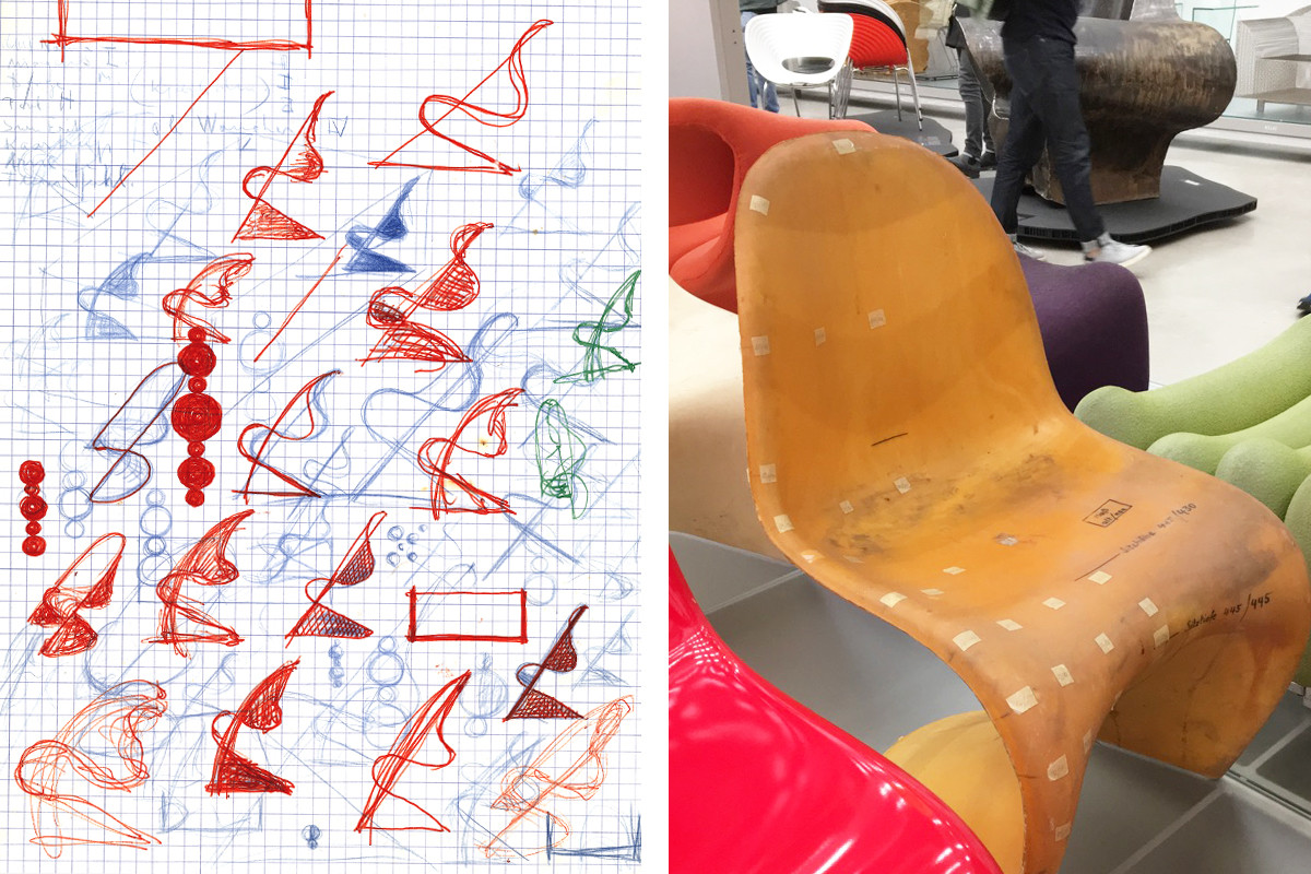Original sketches and 1965 prototype for the Panton Chair