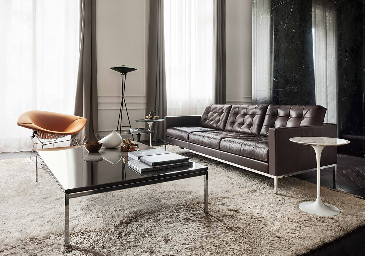 Florence Knoll Three Seater Sofa in mid-century interior