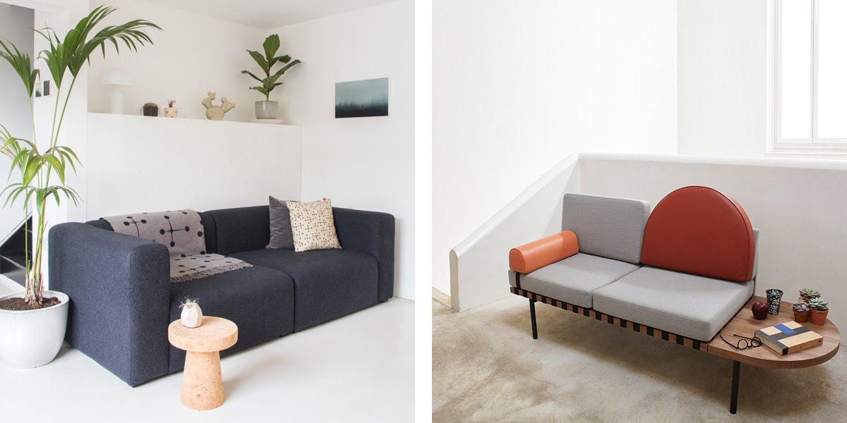 HAY Mags Sofa and Petite Friture Grid Sofa