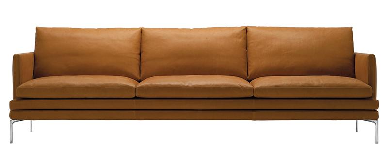 Zanotta William Three Seater Leather Sofa