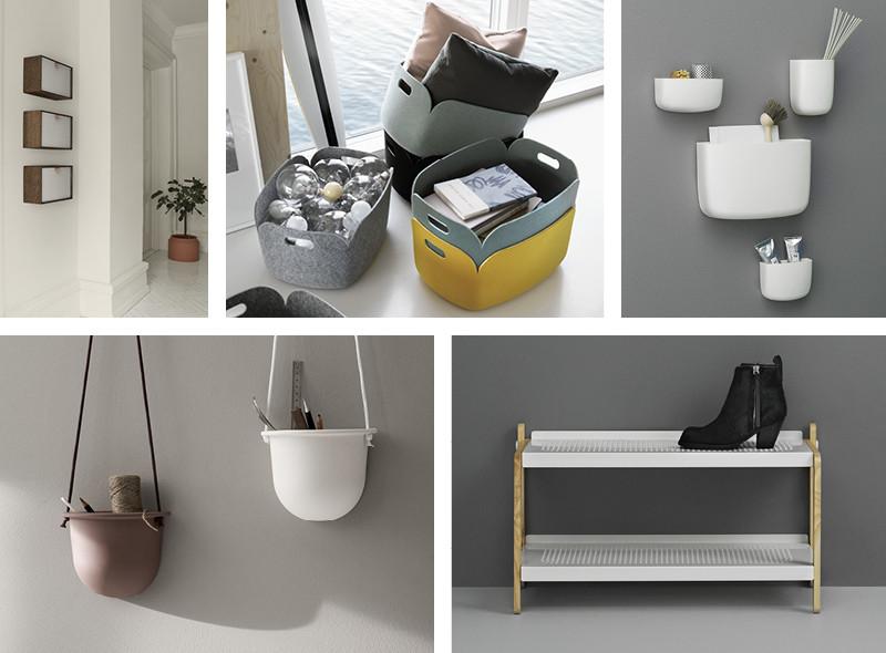 Ferm Living Enter Wall Box, Muuto Restore Storage Basket, Normann Copenhagen Pocket Organiser White, Normann Copenhagen Sko Shoe Rack and Menu Hanging Vessel