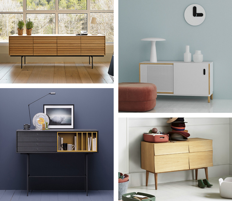 Clockwise from top left: Punt Sussex Sideboard, Normann Copenhagen Kabino Sideboard, Muuto Reflect Sideboard Small and Treku Aura S8 High Sideboard