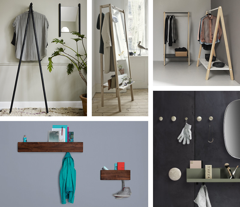Skagerak Georg Coat Stand, Skagerak Push Coat Stand, Normann Copenhagen Toj Clothes Rack, Muuto Folded Shelves, Zeitraum Hide and Park Hallway Storage