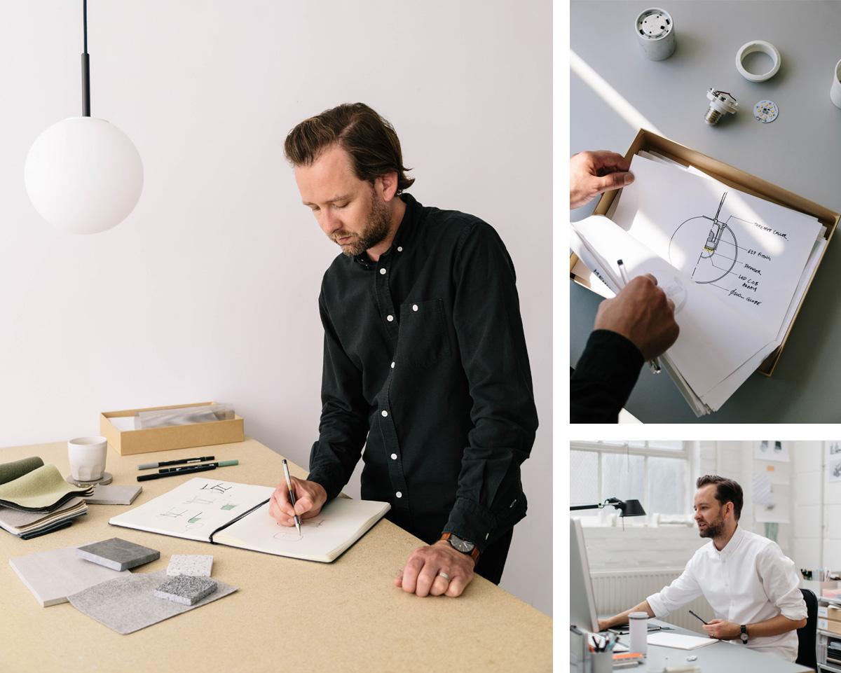 Tim Rundle Designing the MENU TR Bulb Series in his studio