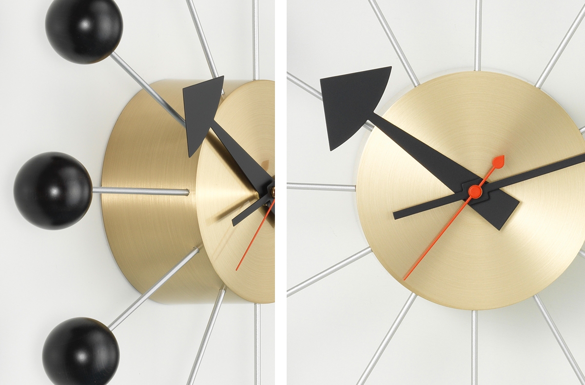 Detail of the Vitra George Nelson Ball Clock in black and brass