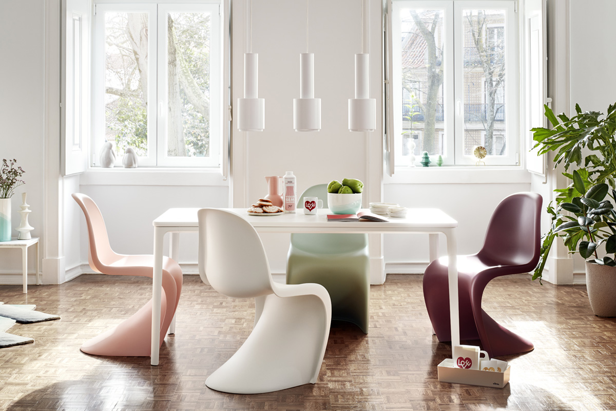 Vitra Verner Panton Dining Chairs in the new colours around the Vitra Plate Dining Table
