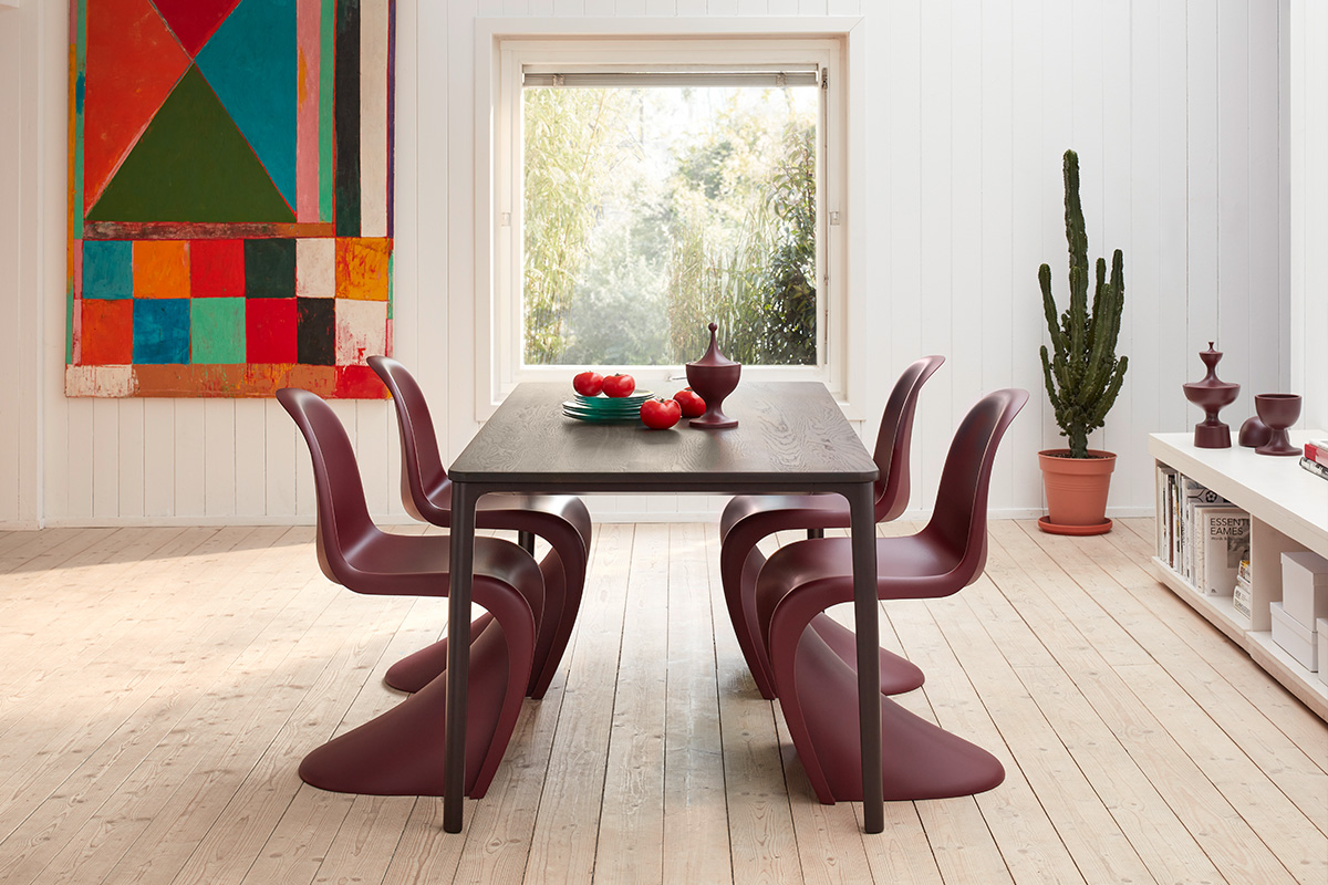 Verner Panton Chairs in Bordeaux