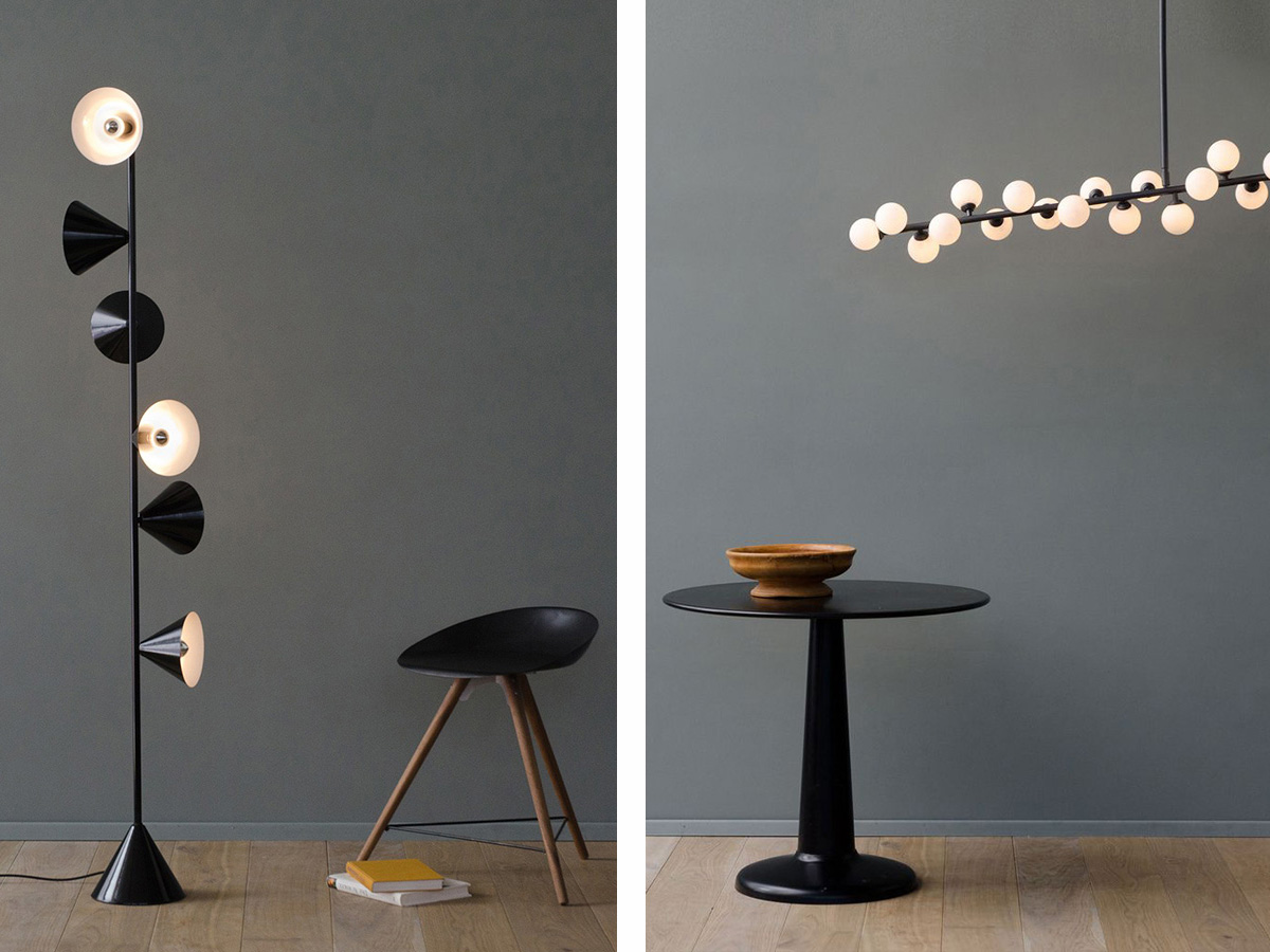 Vertical 1 Floor Lamp and Mimosa Ceiling Light from Atelier Areti