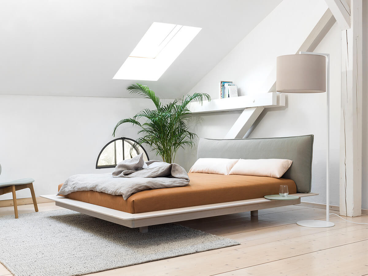 Zeitraum Yoma Bed chalk stained oak in minimal bedroom