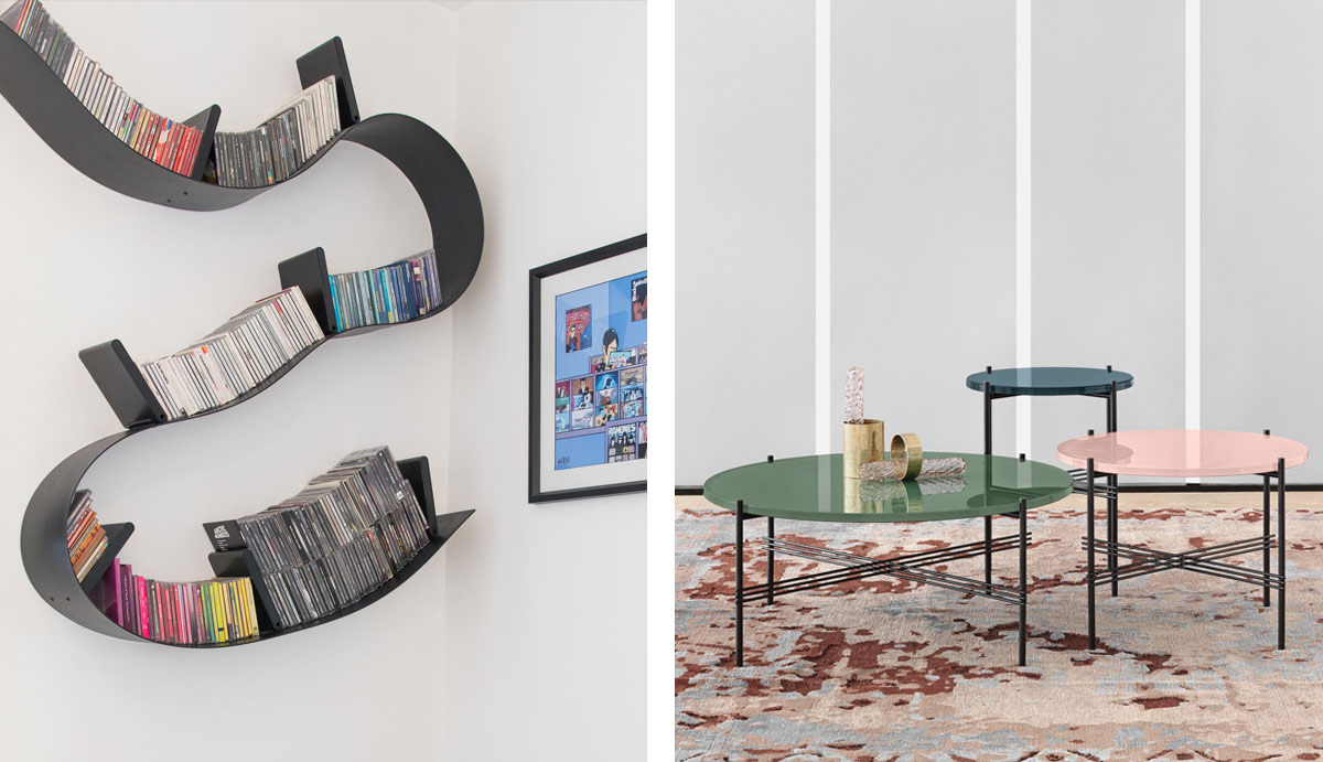 Double image spread of the Cartel Bookworm Shelf and the Gubi GamFratasi Coffee Table collection.jpg