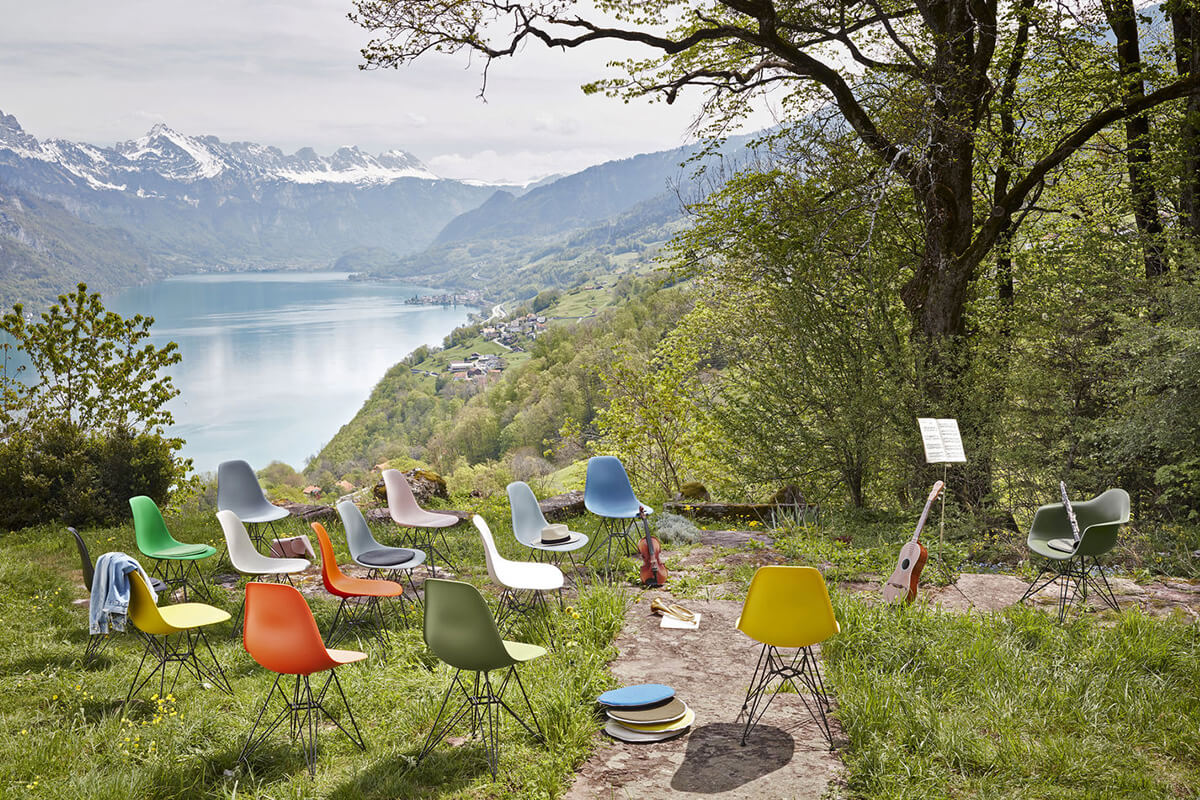 Eames Shell Chairs used outdoors