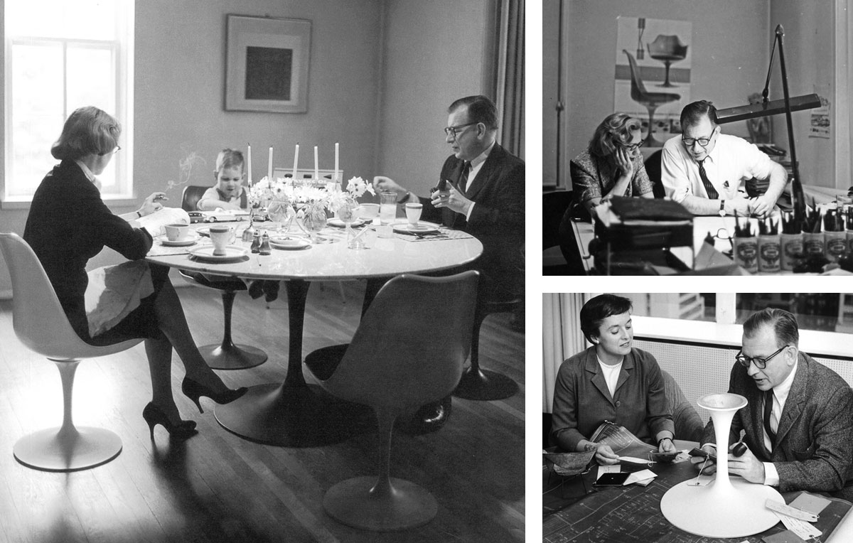 Eero, Aline and Eames Saarinen at their Knoll Tulip dining room table, Eero and Aline Saarinen at work and Eero Saarinen with Florence Knoll working on the Pedestal Line