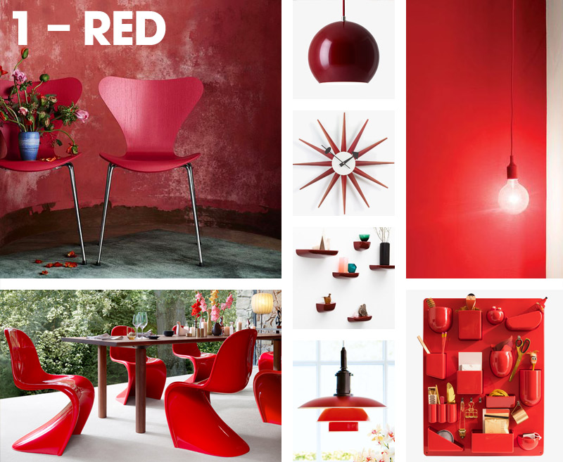 What colour is your personality? Red – Fritz Hansen Series 7 Chair, Vitra Panton Chair, Muuto E27 Pendant Light,Vitra Uten Silo.jpg