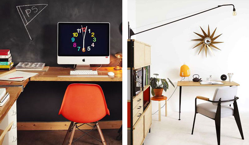 How to make your home office work for you - The 9 to 5 isn't so bad - Vitra DSW Eames Plastic side Chair Dark Maple Base, Vitra Turbine Clock.jpg