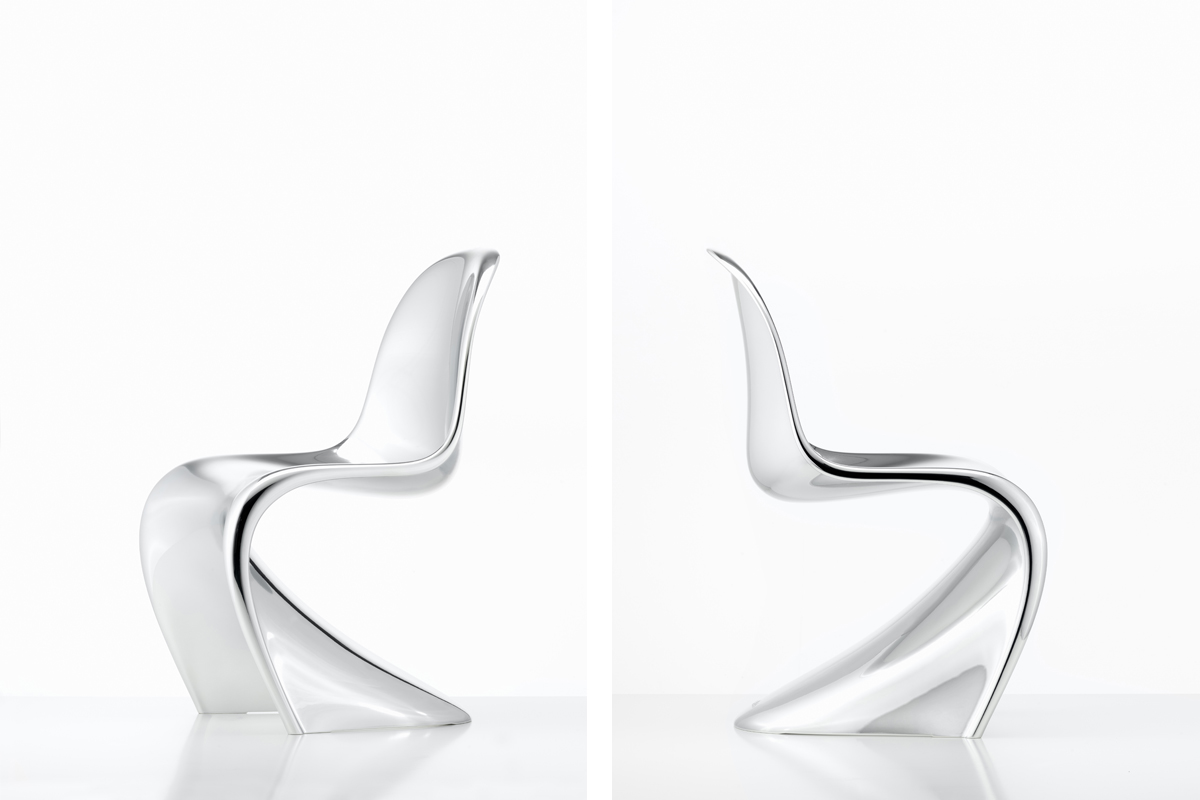 Two Panton Chairs in Chrome side by side
