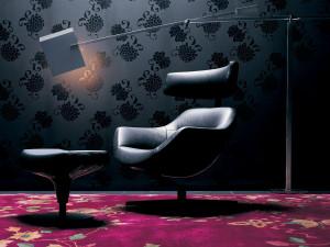 Cassina 277 Auckland Armchair with Headrest - Black