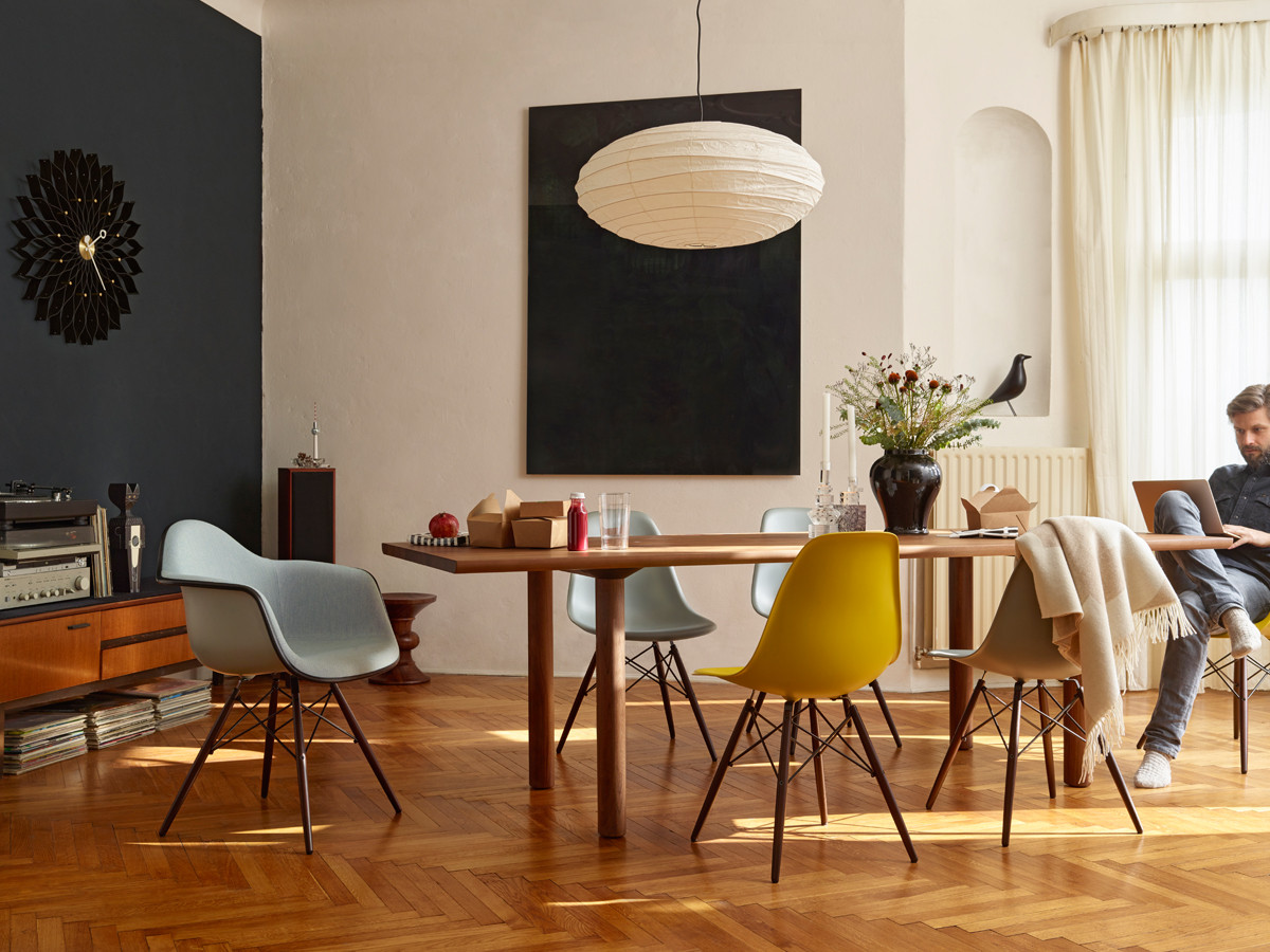 Buy the vitra dsw eames plastic side chair dark maple base for 4 chaises eames