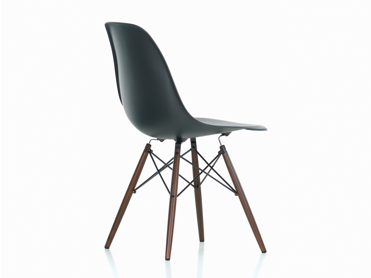 buy the vitra dsw eames plastic side chair dark maple base at