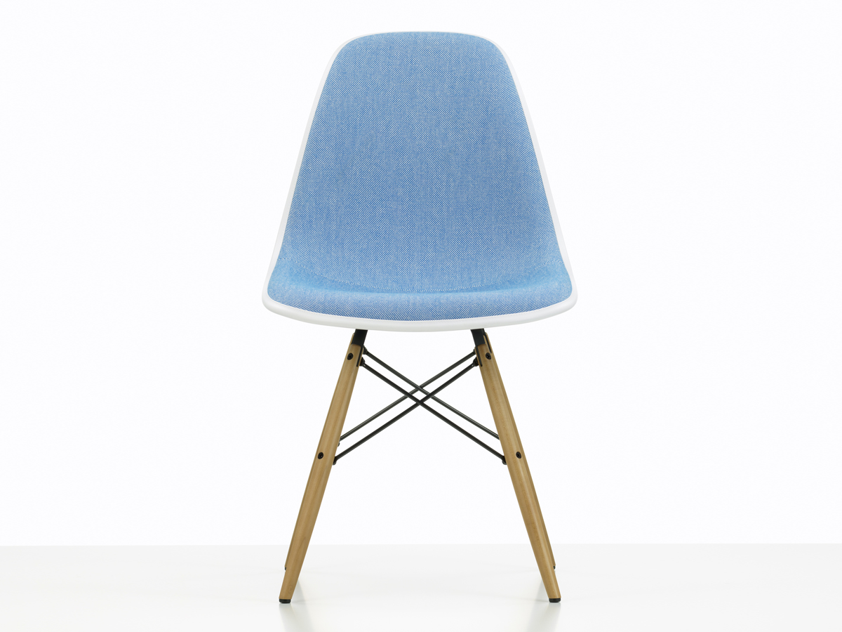 ... Vitra Upholstered DSW Eames Plastic Side Chair Navy Blue ...