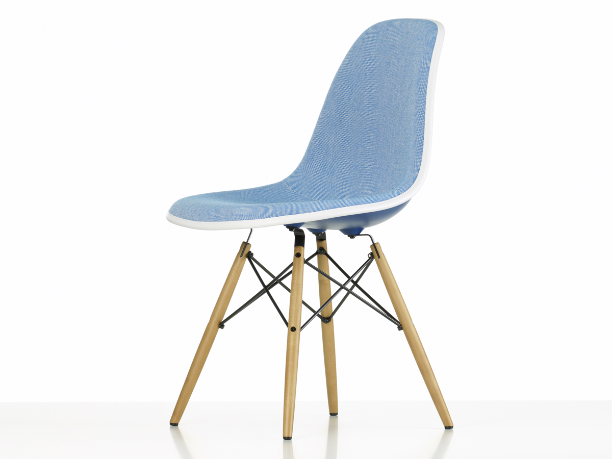 buy the vitra upholstered dsw eames plastic side chair navy blue at. Black Bedroom Furniture Sets. Home Design Ideas
